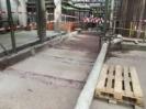 Betonsockel sind Gestemmt Fläche gereinigt.